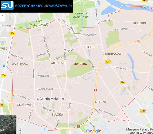 Warszawa Mokotów przepychanie rur